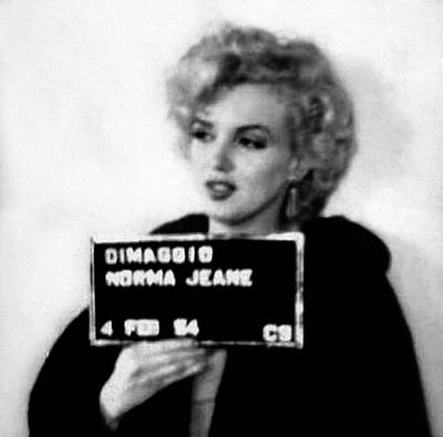 Marilyn Monroe Mugshot In Black And White Poster