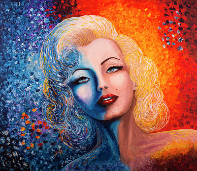 Poster featuring the painting Marilyn Monroe Original Acrylic Palette Knife Painting by Georgeta Blanaru