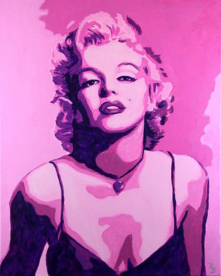 Poster featuring the painting Marilyn Monroe - Pink by Bob Baker
