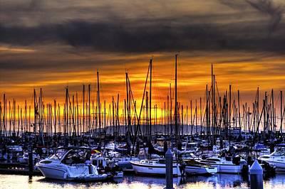 Marina At Sunset Poster by Brad Granger