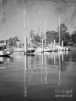 Marina Reflections Bw Poster