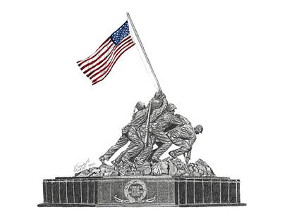 Poster featuring the drawing Marine Corps War Memorial - Iwo Jima by Betsy Hackett