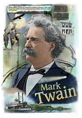 Poster featuring the mixed media Mark Twain by John Dyess