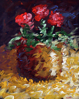 Poster featuring the painting Mark Webster - Abstract Electric Roses Acrylic Still Life Painting by Mark Webster