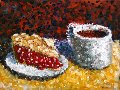 Mark Webster - Impressionist Cherry Pie With Coffee Acrylic Still Life Painting Poster