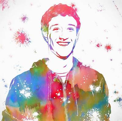 Mark Zuckerberg Paint Splatter Poster