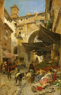 Market Stands In Rome Poster