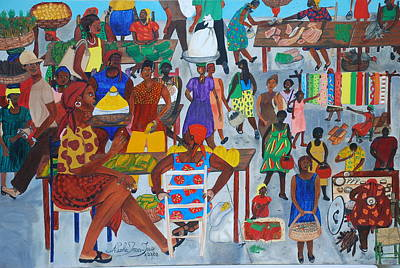 Poster featuring the painting Marketplace Jacmel Haiti by Nicole Jean-Louis