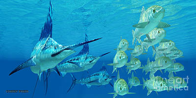 Marlin Attack Ayu Fish Poster by Corey Ford