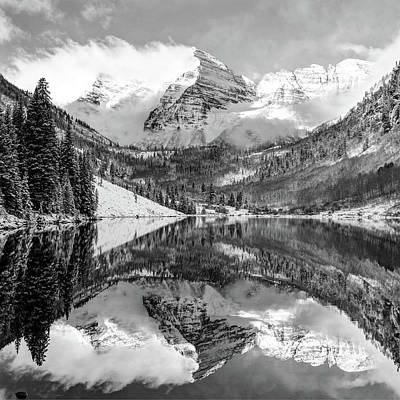 Poster featuring the photograph Maroon Bells - Aspen Colorado - Monochrome - American Southwest 1x1 by Gregory Ballos