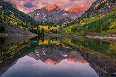 Maroon Bells At Sunrise Poster
