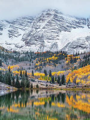 Maroon Bells Cloudy Fall Poster by Darren White