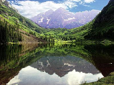 Poster featuring the photograph Maroon Bells  by Jerry Battle