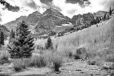 Maroon Bells Monochrome Poster by Eric Glaser