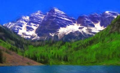 Maroon Bells Summer Color Oil Poster by Dan Sproul