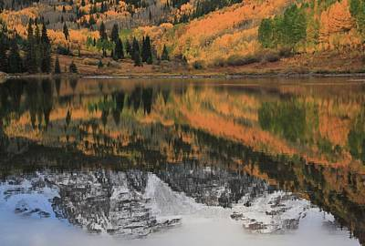 Maroon Lake Autumn Reflections Poster