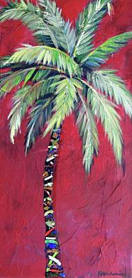 Maroon Palm Tree Poster