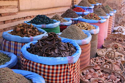 Poster featuring the photograph Marrakech Spice Market by Ramona Johnston