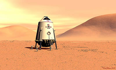 Poster featuring the digital art Mars Lander Ares First Steps by David Robinson