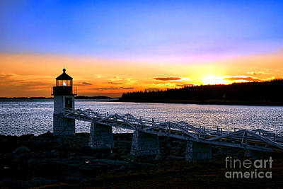Marshall Point Lighthouse At Sunset Poster by Olivier Le Queinec