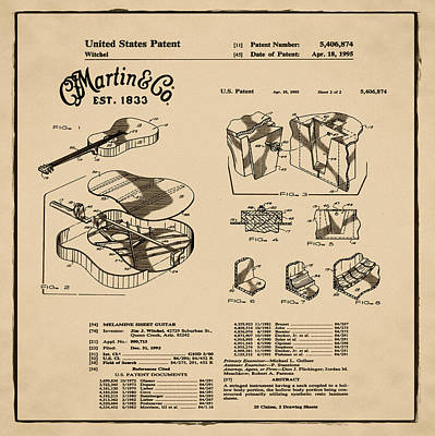 Martin Guitar Patent Dx1 1995 Sepia Poster by Bill Cannon