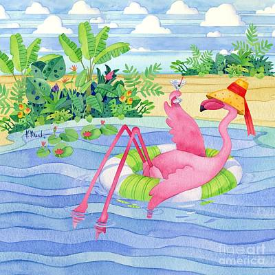 Martini Float Flamingo Poster by Paul Brent
