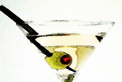 Martini With Green Olive Poster by Sharon Cummings