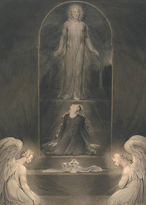 Mary Magdalen At The Sepulchre Poster by William Blake