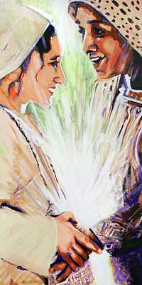 Mary Visits Elizabeth Poster by Steve Gamba