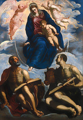 Mary With Child - Venerated By St Marc And St Luke Poster by Mountain Dreams
