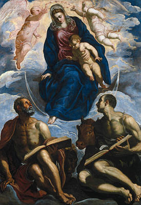 Mary With The Child, Venerated By St. Marc And St. Luke Poster by Tintoretto