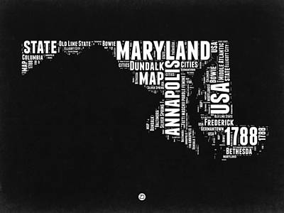Maryland Black And White Map Poster by Naxart Studio