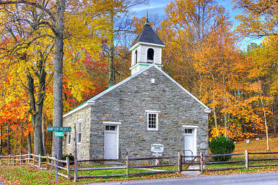 Maryland Country Churches - Eylers Valley Chapel - Built 1857 - Autumn No. 6 Frederick County Poster