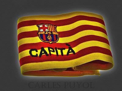 Poster featuring the photograph Mas Que Un Capitan - Carles Puyol by Juergen Weiss