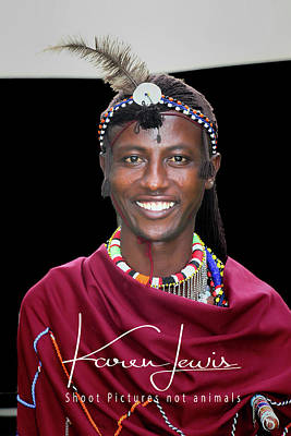 Poster featuring the photograph Masai Warrior by Karen Lewis