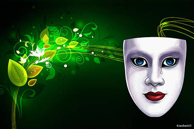 Mask Blue Eyes On Green Vines Poster