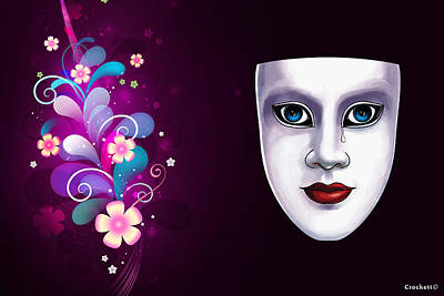 Mask With Blue Eyes Floral Design Poster