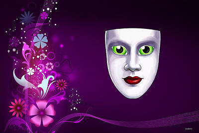 Poster featuring the photograph Mask With Green Eyes On Pink Floral Background by Gary Crockett