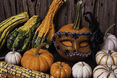 Masked Pumpkin Poster by Garry Gay