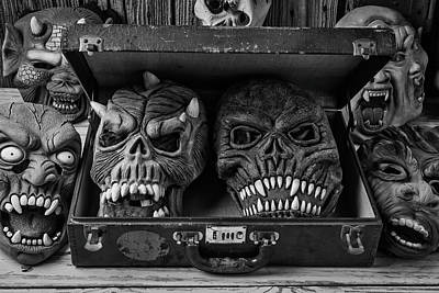 Masks In Suitcase Black And White Poster by Garry Gay