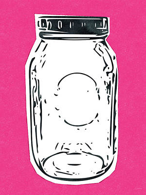 Mason Jar Hot Pink- Art By Linda Woods Poster