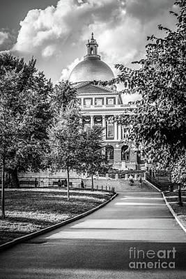 Massachusetts Statehouse Black And White Photo Poster