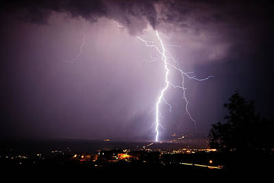 Poster featuring the photograph Massive Lightning Storm by Ron Chilston
