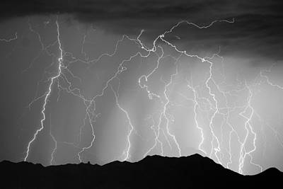 Massive Monsoon Lightning Storm Bw Poster by James BO  Insogna