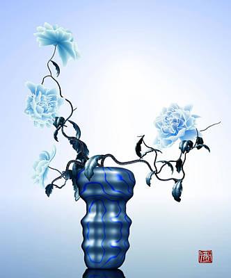 Math Flowers In Blue 1 Poster by GuoJun Pan