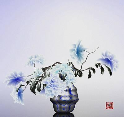 Math Flowers In Blue 2 Poster by GuoJun Pan