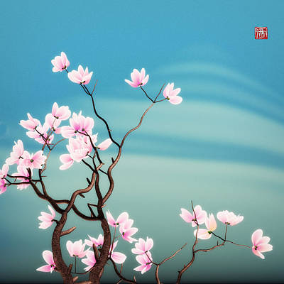 Math Magnolia Poster by GuoJun Pan