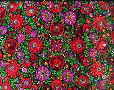 Matyo Hungarian Magyar Folk Embroidery Detail Poster