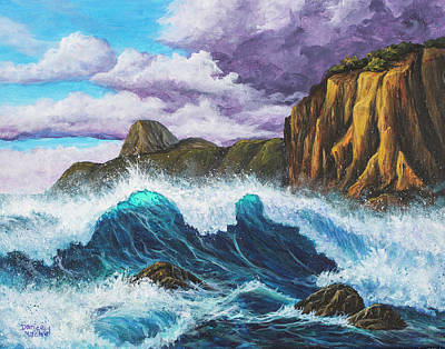Poster featuring the painting Maui Rugged Coast  by Darice Machel McGuire