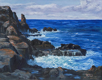 Poster featuring the painting Maui Rugged Coastline by Darice Machel McGuire